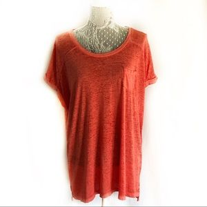 New Style & Co. sheer dark coral red t-shirt 1X